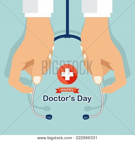 Happy doctor's day with hand's doctor hold stethoscope and white cross plus in red circle sign vector design
