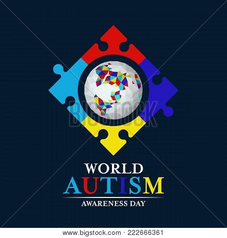 Autism awareness with abstract low polygon earth in Puzzle frmae sign on dark blue background vector design