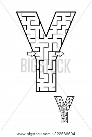 Alphabet  learning fun and educational activity for kids - letter Y maze game. Answer included.