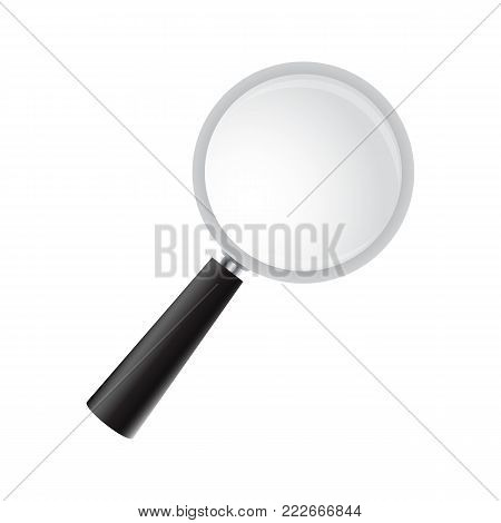 Magnifying glass on a white background. Vector realistic magnifier