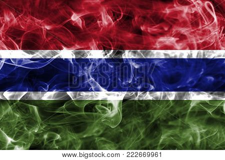 Gambia smoke flag isolated on a black background