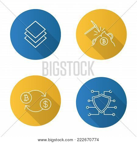 Cryptocurrency flat linear long shadow icon. Stratis coin, mining, bitcoin exchange, cyber security. E-currency. Vector outline symbol
