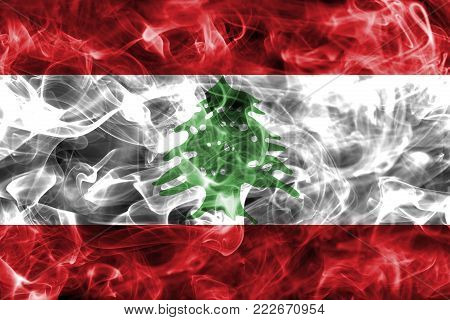 Lebanon smoke flag isolated on a black background