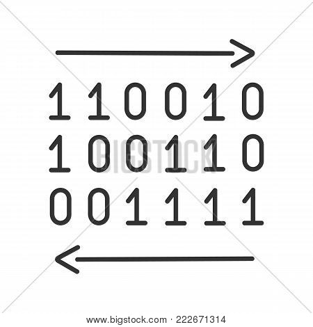 Data transfer linear icon. Binary code. Thin line illustration. Computing. Digital data. Contour symbol. Vector isolated outline drawing