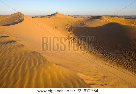 Sand dunes with trails during sunset in the desert in the United Arab Emirates.