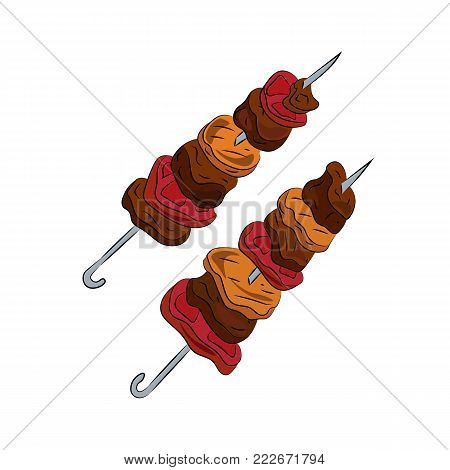 Hot fresh appetizing fried shish kebab. isolated
