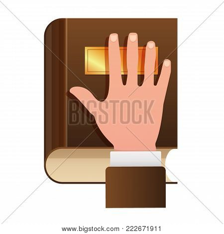 Hand on Constitution as Oath Icon. Hand on the Bible flat icon