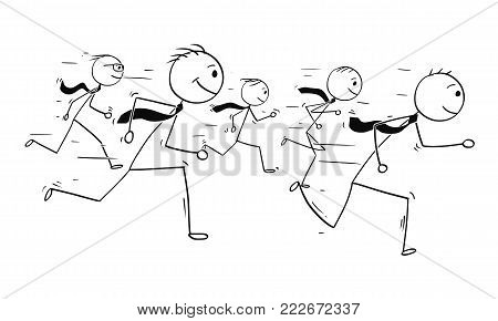 Cartoon stick man drawing conceptual illustration of five businessmen or business people teamwork or running competition race.