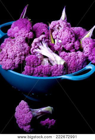 Arrangement of Fresh Raw Purple Sprouts of Cauliflower with Leafs in Blue Bowl isolated on Black background