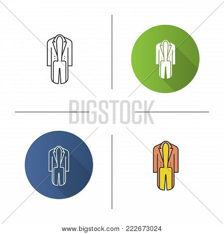 Tailcoat icon. Flat design, linear and color styles. Isolated vector illustrations