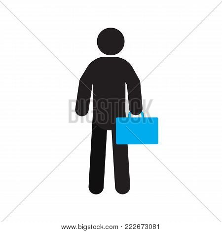 Man with briefcase silhouette icon. Person with toolbox. Fitter. Businessman. Isolated vector illustration