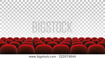 Rows of red movie theater seats on the isolated background - stock vector.
