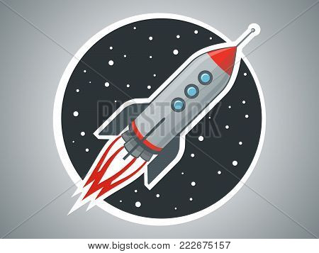 Rocket ship vector illustration. Space travel. Project start up and development process. Space transport