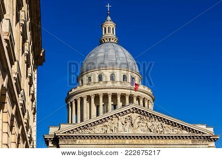 The Pantheon is a building in the Latin Quarter in Paris. It is a secular mausoleum containing the remains of distinguished French citizens. Paris, France