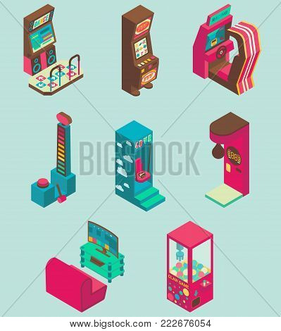 Arcade game machine icon set. Vector isometric illustration of casino slot machine, virtual reality, claw crane, boxing, racing, dancing, dynamometer machines.