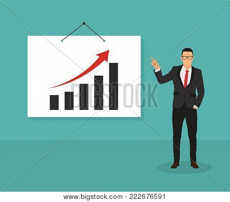 Man with pointer standing at the blackboard with graphs, curves and infographics - stock vector.