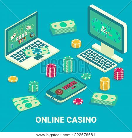 Online casino concept vector illustration. Isometric computer equipment, smartphone, gambling chips and bundles of banknotes.
