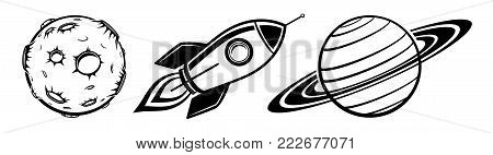 Collection of cosmic space object vector illustration planet spaceship