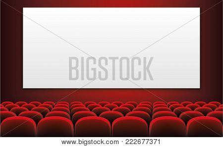 Rows of red cinema or theater seats in front of white blank screen - stock vector.