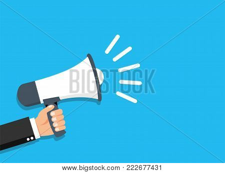 Hand holding flat style Megaphone. - stock vector.