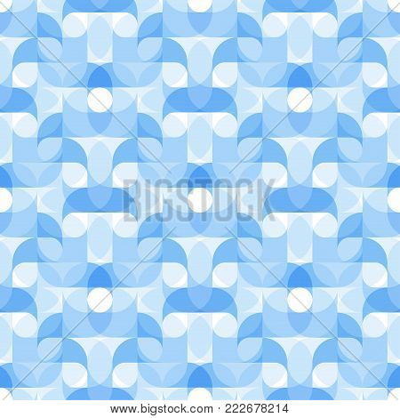 Vector seamless pattern of regular radial waves swirl geometric shapes chain with droplets inside for design backgrounds, printing, textile, packaging and websites.