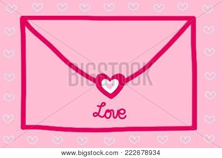 Envelope shape with red heart and the word LOVE. Cute envelope on pastel pink color background. Hand drawn illustration raster pattern of love letter for love theme on Valentine's day concept to present sweet love letter. Sweet pink envelope background.