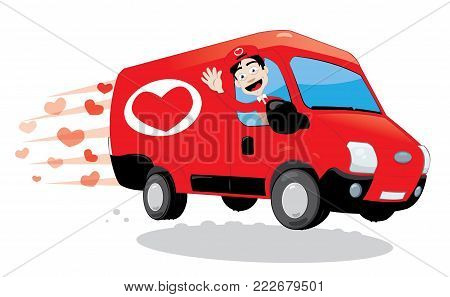 Funny courier delivering a truck of love. Saint Valentine and love concept