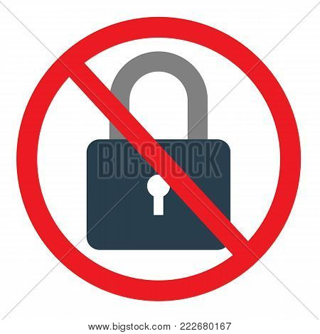 Circle No Locked Prohibited Sign, Icon or Label Isolate on White Background. Stock flat vector illustration.
