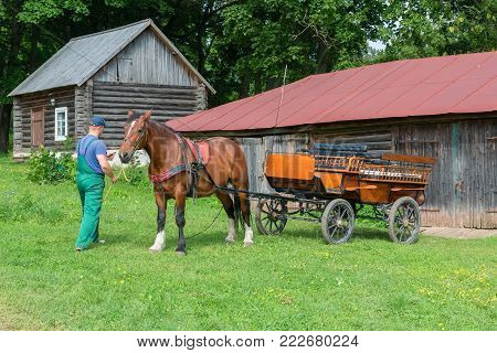 Horse is prepared for horse walks in the park in the estate of Count Leo Tolstoy in Yasnaya Polyana in September 2017.