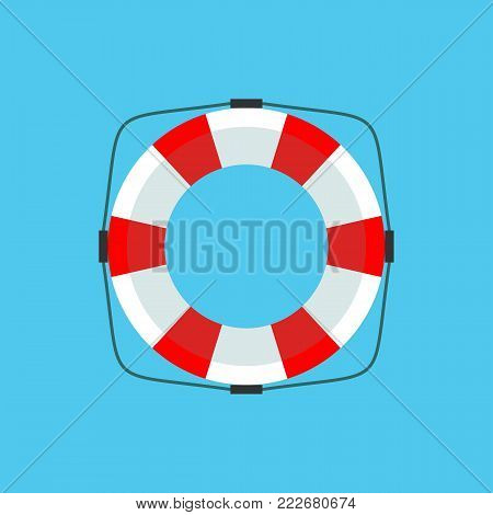 Lifebuoy icon in flat style isolated on a background. Simple vector life ring or life preserver symbol. Stock flat vector illustration.
