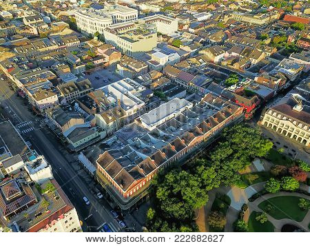Aerial View Historic French Quarter In New Orleans, Louisiana, Usa