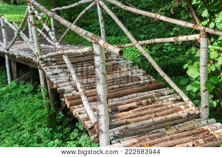 Birch bridge near the Lower Pond in the territory of the manor of Count Leo Tolstoy in Yasnaya Polyana in September 2017.