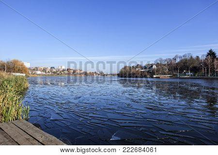Southern Bug River at the end of November (Ukraine, Vinnitsa, Spartak)