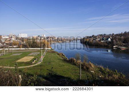 Southern Bug river in the late autumn. Spartak beach and sports base Dynamo (Ukraine, Vinnitsa)