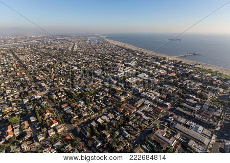 Aerial cityscape of Long Beach neighborhoods near Belmont Pier in Southern California.