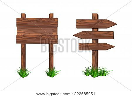 VECTOR signposts isolated on white background illustration, wooden bulletin boards blank templates.