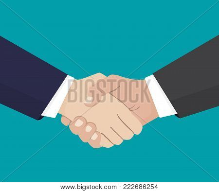 Handshake of business partners.Vector flat style illustration.