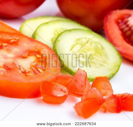 Tomato Cucumber Salad Means Ripe Fresh And Food