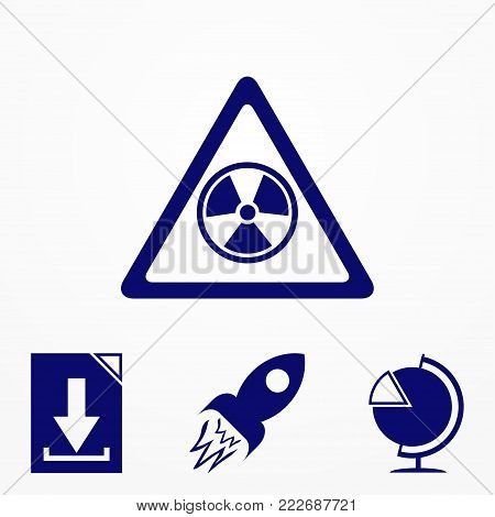 The radiation icon. Radiation flat symbol. icon. vector illustration for website.