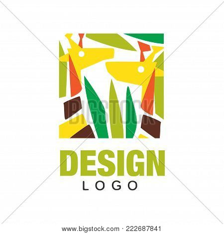Original African animals logo design template. Abstract giraffes in jungles leaves. Colorful vector illustration isolated on white. Ornament for card, children t-shirt design, poster or travel agency.