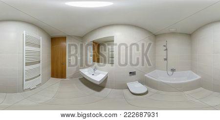 Praha, Czech - July 21, 2014: 360 Panorama View In Modern White Empty Restroom Bathroom Lavatory, Fu
