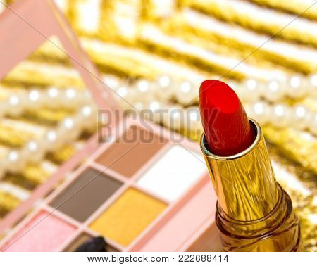 Makeup And Lipstick Represents Eye Shadow And Cosmetology