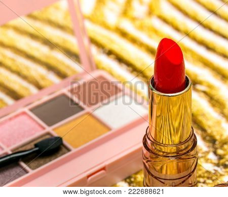 Makeup Red Lipstick Means Beauty Product And Cosmetology
