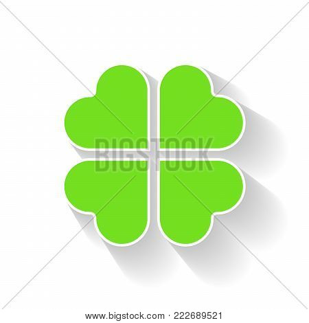 Shamrock - green four leaf clover icon. Good luck theme and Saint Patrick symbol design element. Simple vector illustration with long shadow effect.