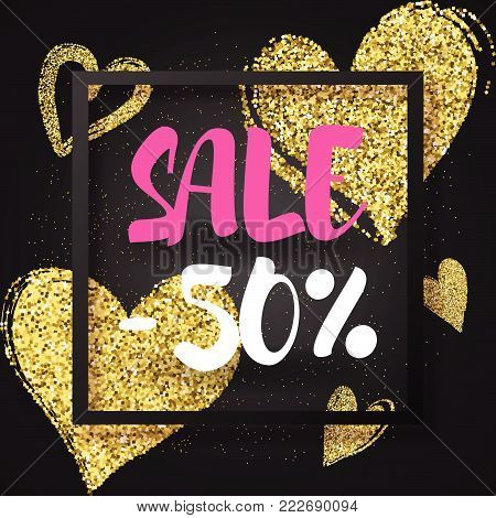 Sale -30% banner with golden glitter  hearts. Valentine's day sale vector design template. Vector illustration EPS 10 file