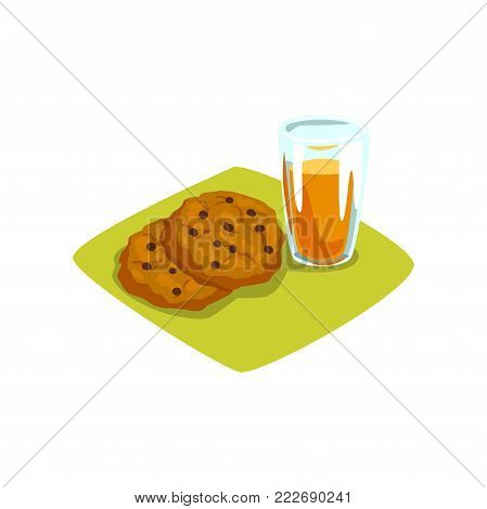 Delicious cookies with chocolate chips and glass of freshly squeezed orange juice. Sweet food and drink. Appetizing breakfast. Cartoon vector illustration in flat style isolated on white background.