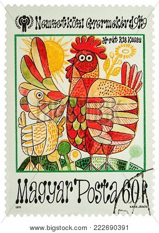 Moscow, Russia - January 19, 2018: A stamp printed in Hungary shows scene from a fairy tale