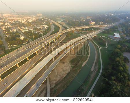 Aerial Interstate I-10, North I-45 Freeway Stack Interchange Northeast Houston, Tx