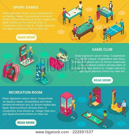 Game rooms vector flat 3d isometric illustration. Sport game, Casino, Game club, Recreation room concept design elements.
