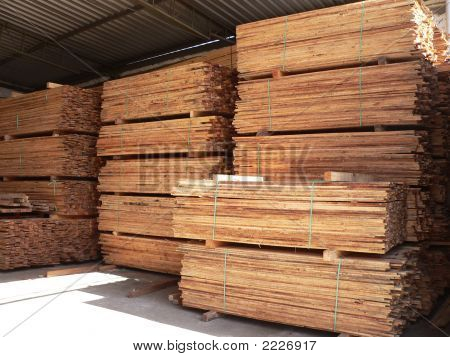 Piles Of Wood On Warehouse